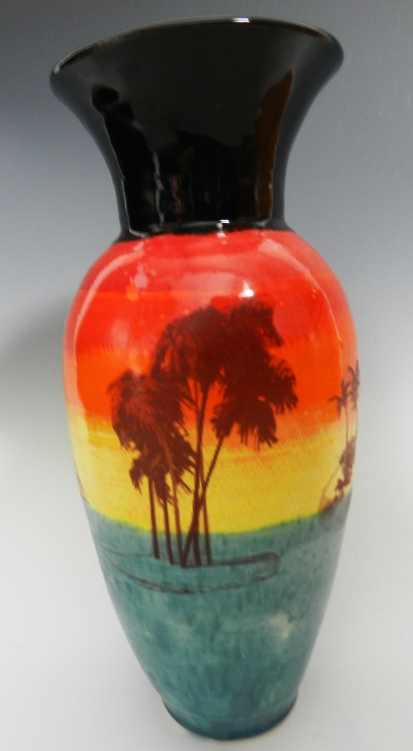 Deserted island vase at sunset
